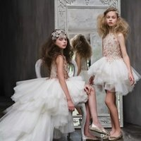 Wholesale Little Girl Princess Photos - Luxury High Low Flower Girls Dresses For Weddings Lace Applique Crystal Princess Dress For little Girl Sleeveless Hot Sale Pageant Gowns