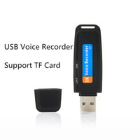 Wholesale Tf Card Max 32gb - Wholesale-Mini USB Audio Voice Recorder Pen USB Flash Drive with TF Card Slot Max support to 32GB Free shipping