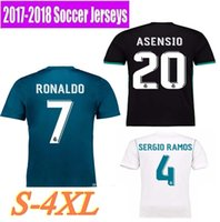 Wholesale Font Blue - 2017 2018 Real madrid soccer Jerseys New Font 17 18 RONALDO white Black JAMES BALE RAMOS ISCO MODRIC football shirt Thailand Quality