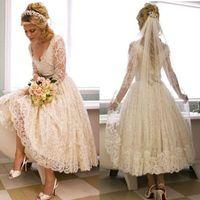 Wholesale Tea Length Garden Wedding Dresses - Vintage wedding dresses bridal gowns Short Full Lace Long Sleeves Hollow Deep V Neck Tea Length Wedding Gown Beach 7129