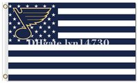 logotipos de estrela azul venda por atacado-St. Louis Blues eua bandeira da bandeira da listra e logotipo bandeira NHL bandeira 90x150 cm poliéster impressão digital da bandeira com 2 Ilhós De Metal 3x5ft