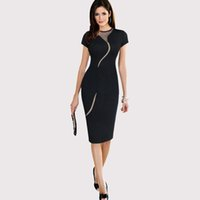 Wholesale Red Mesh Cocktail Dress - Womens Black Red Office Work Dress O-Neck Short Sleeve Bodycon Pencil Dress Sheer Mesh Patchwork Cocktail Party Dresses ZSJF0326