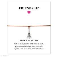 pulseiras eiffel venda por atacado-Tom de prata Torre Eiffel Charm Bracelets Pulseiras Presentes Para As Mulheres Meninas Ajustável Amizade Declaração de Jóias Com Cartão