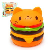 Wholesale Rubber Cat Toy - Creative New Squishy Slow Rising Scented PU Kawaii Yummy Cat Head Hamburger Slow Rebound Decompression Squeeze Toys gift