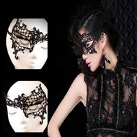 Wholesale Masquerade Masks Quality - Wholesale-High Quality Women Feathered Venetian Masquerade Masks for a masked ball Lace Flower Black Free Shipping