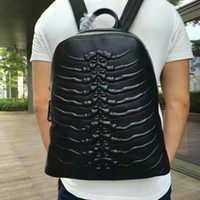 Wholesale Small Shoulder Satchel Men - Luxury men's brand package fashion personality scorpion pattern shoulder bag school male bags genuine leather handbags