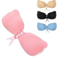 Wholesale Adhesive Push Up Bra Cups - Invisible Bra Butterfly Wing Self Adhesive Silicone Sexy Women Push Up Bra Backless Magic Bra 200pcs KKA1652