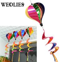 spinners de cauda venda por atacado-Atacado-Hot Air Balloon vento Spinner Rainbow Windsock jardim quintal ao ar livre decoração Wih cauda grande arco-íris praia papagaios