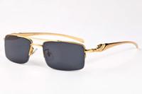 Wholesale Famous Bridges - Famous Brand Men Glasses Double Bridge Semi Rimless Metal Frame Alloy Leopard Legs Buffalo Sunglasses lunettes de soleil de marque