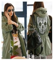 Wholesale Military Skull Jacket - Wholesale-Free Shipping Spring 2015 New Women's Mesh Skull Skeleton Punk Military Green Style Jackets with Hoodies Slim Waist