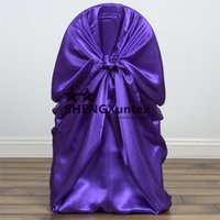 housse de chaise de mariage pourpre achat en gros de-Purple Color Satin Banquet Wedding Chair Cover \ Decoration Chair Cover
