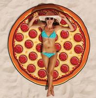 couvre-lit en tapisserie achat en gros de-Eco-Friendly Pizza Serviette de plage Tapestry Châle Imprimer Pizza Indian Bedspread Tenture Bohême Décor Couverture Yoga Mat Imprimé Tapis