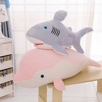 Hot Selling Dolphin / Shark Travesseiro Soft Stuffed Plush Animais Brinquedos Lumbar Sleep Pillow Baby Doll Crianças Adult Birthday Gift Free Shipping