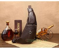 Wholesale Travel Sling Leather - Wholesale- Men's Vintage Genuine Leather Travel Riding Messenger Shoulder Cross Body Sling Pack Chest Casual Bag