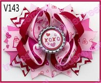 Wholesale Animal Barrettes - free shipping 2017 newest 30pcs Valentine's day hair bows-B Girl boutique bows Valentine hair clips heart ribbon hair clippie