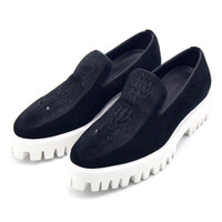Moda Womems Casual Shoes White Bottom Peculiar Black Velvet Crocodile Puffed Handmade Pure Leather Thick Bottom