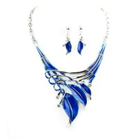Wholesale Enamel Vintage Earring - Flash Deal Blue Green Enamel Party Jewelry Sets Flower Alloy Leaf Choker Collar Vintage Hollow Out Necklace and Earrings Set