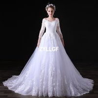 Wholesale New Sale Dresses Wedding - New Arrival 2017 Hot Sales High Quality White Ivory Ball Gown V-neck Lace Appliques Zipper Wedding Dress Party Gowns