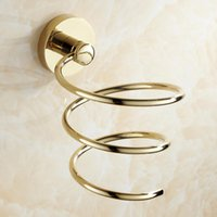Wholesale Circular Wall - Gold Circular Holder Hair Dryer Holder Rack Gold Polished Chrome Wall Mounted Bathroom Product Accessories