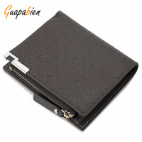 Wholesale Stylish Wallets For Men - Wholesale- Guapabien 2017 New Knurling Design Solid Pattern Zipper Patchwork Wallet for Men Easy to Use Lightweight Stylish Elegant Wallet
