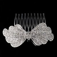 Wholesale Rhinestone Hair Pins Comb - New Elegant Luxurious Wedding Bride Tiara Sparkling Silver Plated Crystal Bridal Hair Combs Hair Pin Jewelry Accessories