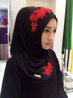 Wholesale Embroidered Lace Scarfs - Muslim women Scarf with blingbling printing embroidered flowers Turban lace headcloth muslin folk style multicolor hijab 16colors
