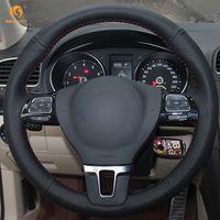 Wholesale Vw Mk6 Steering Wheel - Mewant Black Artificial Leather Car Steering Wheel Cover for Volkswagen VW Gol Tiguan Passat B7 Passat CC Touran Jetta Mk6