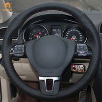 vw gol al por mayor-Mewant negro cubierta del volante del coche de cuero artificial para Volkswagen VW Gol Tiguan Passat B7 Passat CC Touran Jetta Mk6