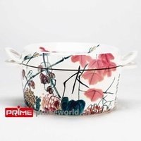 Wholesale Prime Enameled Cast Iron Covered Dutch Oven Casserole White Color Painting Enamel Cookware Round Doufeu Cooking Dish flowers and alderfly