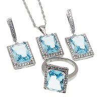 Wholesale Women Blue Topaz Wedding Ring - 925 Sterling Silver Women Jewelry Set Rectangle Sets Beautiful London Blue Topaz Necklace Earrings Ring Size 8 Nice Quality Free Shipping