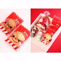 Wholesale Red Cellophane Bags - Wholesale- 100X Red Christmas Stocking Santa Cookie Candy Sweet Party Gift Cellophane Bags