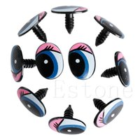 Wholesale Diy Safety Eyes - 5 Pairs(10Pcs) Oval Blue Safety Plastic Eyes Toy Puppets Dolls Eyes DIY 24 x18mm
