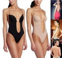 Wholesale Wholesale Body Dress - Wholesale- Sexy Backless Deep plunging Evening dress Party Dress Shaper Clear Strap Plunge Thong Body Shapers Women's U Plunge BodySuit