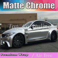 Wholesale vinyl graphics wrap - Luxury Chrome satin silver Vinyl Car Wrap Film with air bubble free   release Vehicle Covering styling graphics 1.52x20m roll