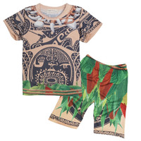 Wholesale Boys Cartoon Summer Tops - Boys cartoon printing Moana summer outfits 2pc sets top+loose pants Maui printing short sleeve outfits for kids 3-8T