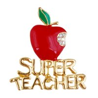 Wholesale delicate crystal brooches - Wholesale- 1 pcs New Delicate Red Apple Super Teacher Gift Unisex with Crystal Brooch Pin Show Your Love Unique Gift
