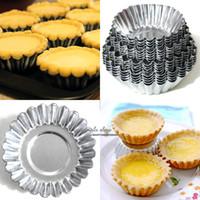 Wholesale Egg Tarts Mould - 4 Sizes (5cm 6cm 6.5cm 7cm) 20pcs Egg Tart Aluminum Cupcake Cake Cookie Mold Lined Mould Tin Baking Tool