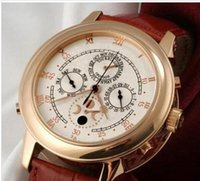 Wholesale Moon Phase Swiss - Famous Brand New Luxury Mens Automatic Mechanical Swiss Rose Gold 18K Sky Moon Phase Watch Brown Genuine Leather Casual Men's Sport Watches