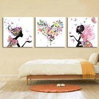 Wholesale Dancing Pictured Canvas - Frameless Dancing Girl Oil Painting Butterfly Wall Poster Canvas Art HD Modular Picture Home Decor design