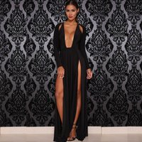 Wholesale Long Fashionable Party Dresses - Prom Dress European Sexy Long-sleeved High Dew Chest Cultivate One's Morality Split Posed Fashionable Dress Dress Party Wine of Evening Dres