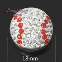 Wholesale Wholesale Rhinestone Baseball Necklace - High qualit baseball W089 18mm 20mm rhinestone metal button for snap button Bracelet Necklace Jewelry For Women Silver jewelry