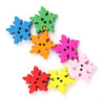 Wholesale Colored Wooden Beads Wholesale - DY33 Wholesale Mix-Colored Solid Color 18*18MM Snowflake Shaped Wooden Button 200 pcs Wooden Beads christmas accessories