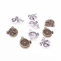 Wholesale Vintage Bell Watch - Sweet Bell Min order 30pcs 18*20mm Vintage Metal Steampunk Watches Clock Gears Charms two color Zinc Alloy Small Watches Clock Charms D1213