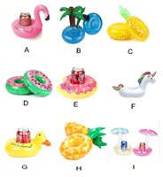 Wholesale Inflatable Drink - PVC Inflatable Drink Cup Holder 9 Styles Unicorn Flamingo Donut Duck Mushroom Fruit Beverage Holers Floating Pool Beach Stand Toy For Party