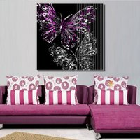 Wholesale Cheap Purple Wall Art - purple butterfly picture ink painting for living room canvas wall art wall decor painting cheap home decor print art