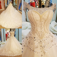 Wholesale Satin Gowns Skirts Petticoats - Long Train Backless Bridal Dress Robe De Mariage 2017 Ball Gown Luxury Sexy Scoop Neck Crystals Applique Wedding Dresses with Free Petticoat