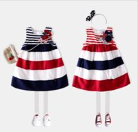Wholesale Girls Navy Dresses Children - 2017 Spring Summer New cotton British children girls dress Wide red navy wide stripe Sundress kids dress B4512
