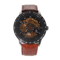 Wholesale Skeleton Manual Watch Men - Men's Winner Brown Leather strap Stainless Steel Skeleton Mechanical Watches For Man Manual Mechanical Wrist Watch Free Shipping