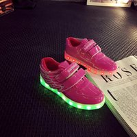 simulations chaussures menées achat en gros de-25-34 Taille / 2016 Nouveaux enfants colorés incandescents Chaussures de basket de simulation USB avec Light Up Boys Girl Chaussures lumineuses LED Kids pink and bule
