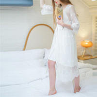 Wholesale Princess Kimono - Wholesale- 2017 Bathrobe Women Bridesmaid Robes Soft Lace White Princess Sexy Short Kimono Robe Home Dressing Gown Wedding Robes